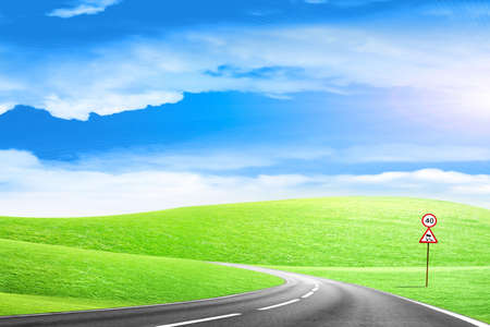 abstract scene country route under blue sky Stock Photo - 6552051