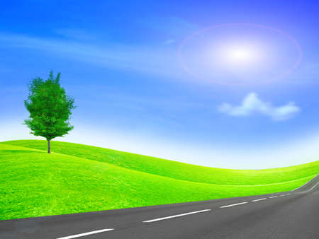 season photos: abstract scene car road on background year sky Stock Photo