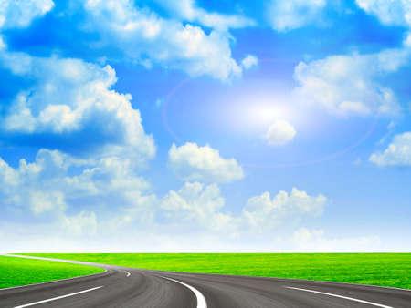 springtime: sky on the road