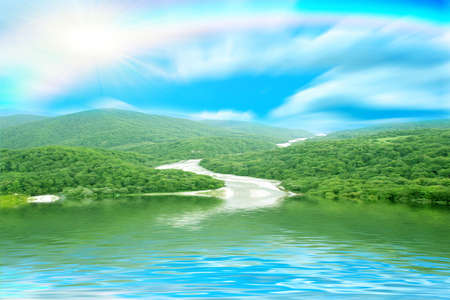 reflections mountain landscape in surfaces lake Stock Photo - 7559918