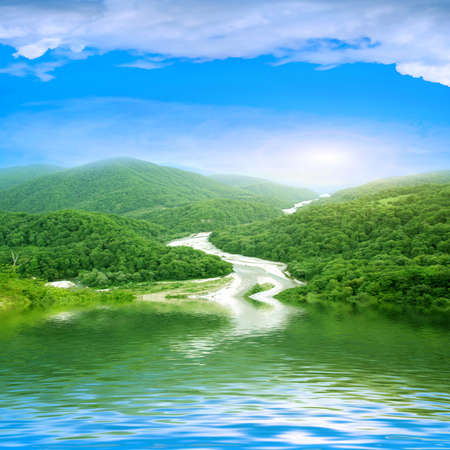 reflections mountain landscape in surfaces lake Stock Photo - 7544925