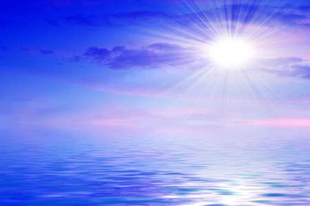 Riflessione del cielo solare nelle superfici d'acqua Archivio Fotografico - 7544926