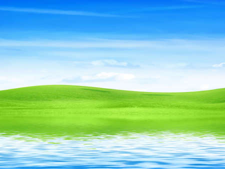reflection of the meadow in surfaces lake Stock Photo - 7544943