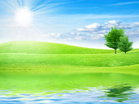 reflection of the meadow in surfaces lake Stock Photo - 7544944