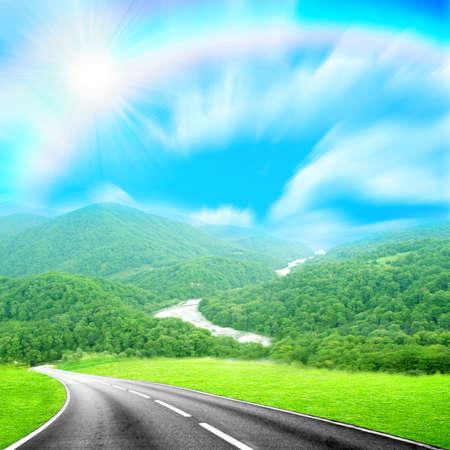 山への道 写真素材