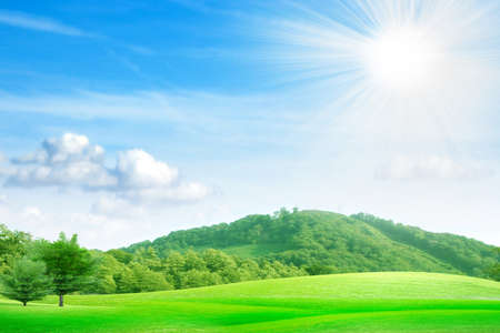 summer landscape with mountain and blue sky  photo