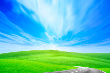 summer landscape with road and blue sky Imagens - 8427410