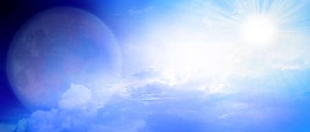 月と太陽の空 写真素材