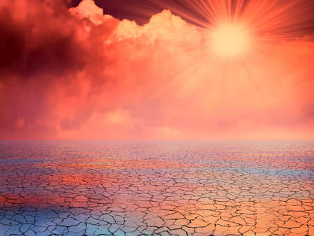赤い砂漠をグローします。 写真素材