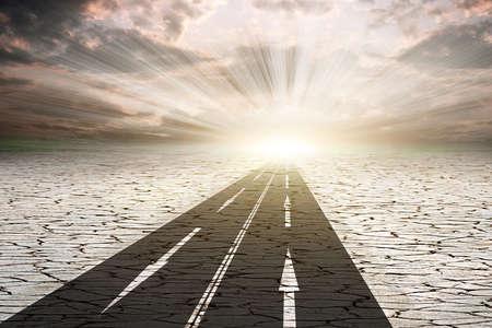 抽象的な背景の道砂漠
