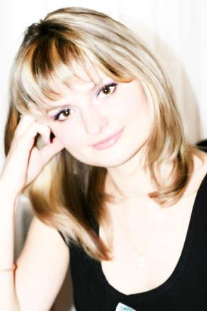 beautiful blonde on light background Stock Photo - 8851100