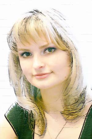 beautiful blonde on light background  photo