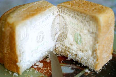 scene bill american dollar on cut white bread photo