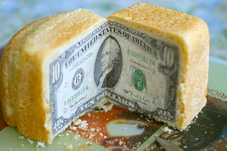 scene bill american dollar on cut white bread photo