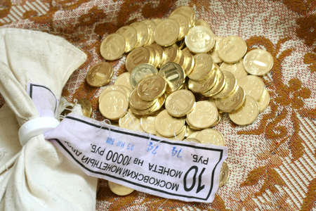 nominal: russian metallic coins nominal value ten roubles