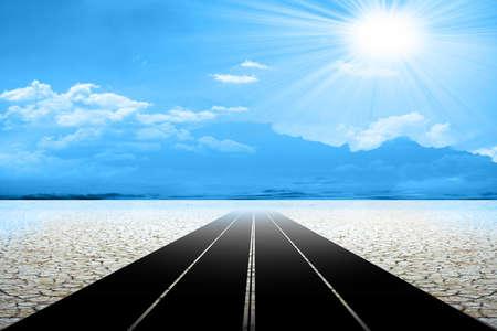 road on the desert photo