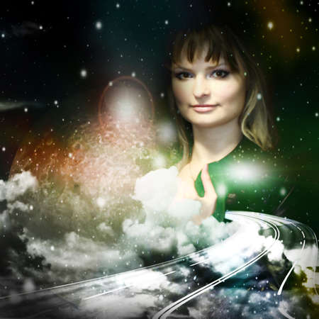 space and girl photo