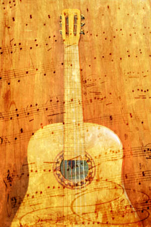 aabstract scene coustic guitar as music background