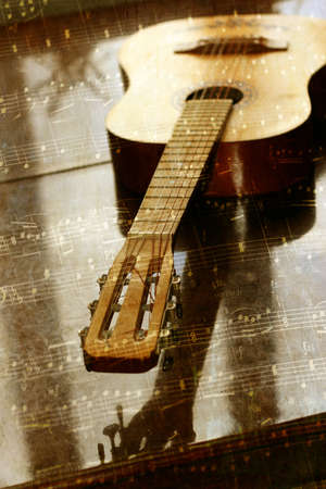 abstract scene acoustic guitar as music background Stock Photo