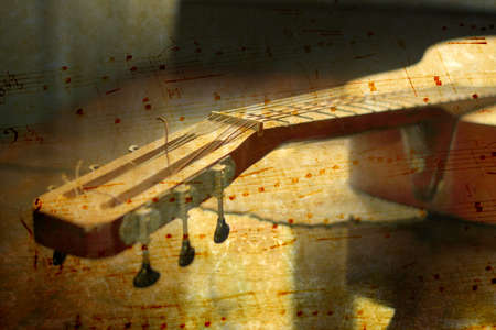 abstract scene acoustic guitar as music background photo