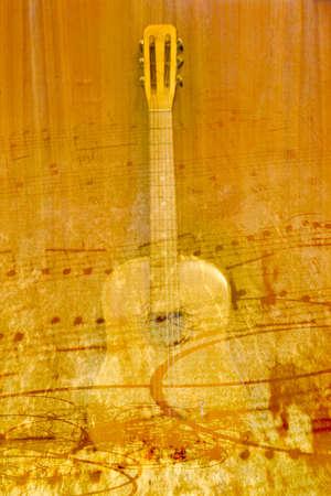 Astratto chitarra acustica scena come musica di sottofondo Archivio Fotografico - 16230720