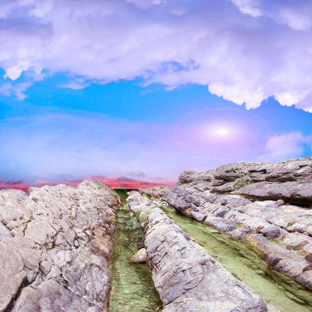 abstract scene with mountain stream as travel background photo