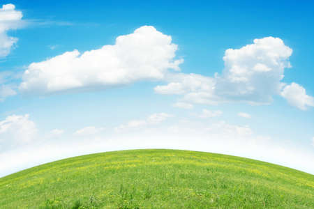 green meadow and blue sky as summer background Stock Photo - 9689556
