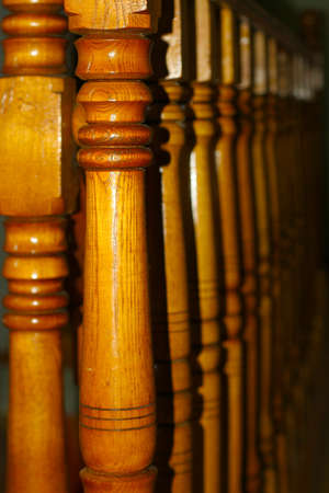 banisters: banisters wooden stairway Stock Photo