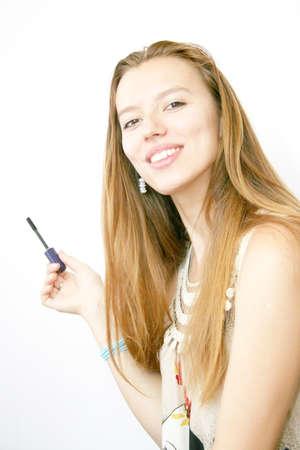 pretty girl and lipstick Stock Photo - 10159897
