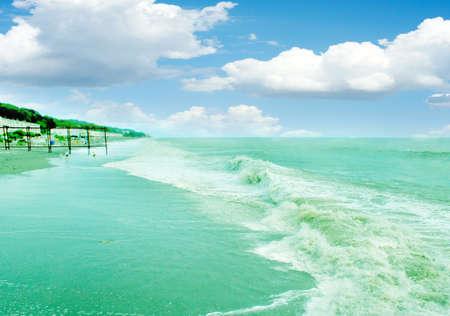 plage: scene solar sea beach as travel background Stock Photo