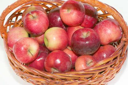 scene beautiful ripe garden apple lies in basket photo