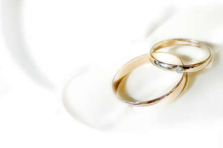 two object: abstract scene with wedding rings as celebration background