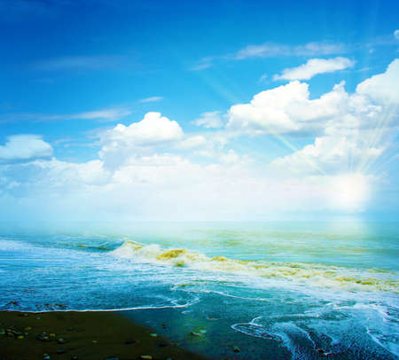 beach scene: abstract scene with coast sea on the solar sky  Stock Photo