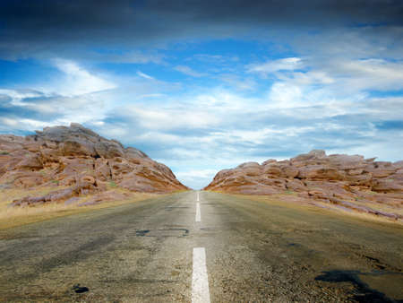 sulight: summer day and road as travel background Stock Photo