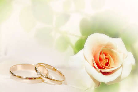 abstract scene with wedding rings as celebration background  Stock Photo - 11245296