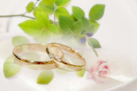 結婚指輪とお祝いの背景としてのシーン 写真素材