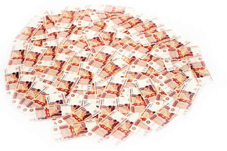 roubles: abstract scene banknotes value five thousand rouble Stock Photo