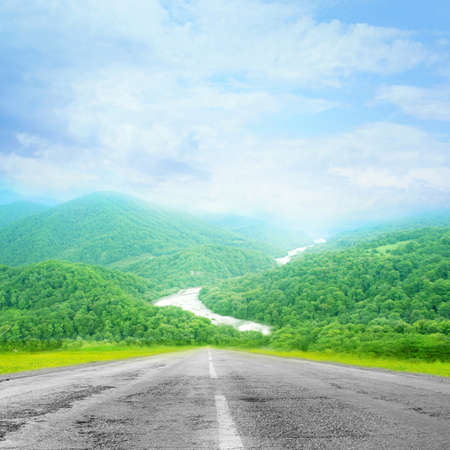 summer day and road as travel background photo