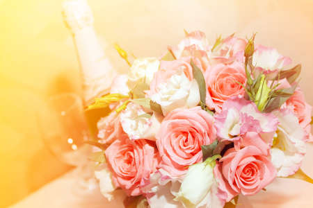 abstract scene with wedding rings ans flower as celebration background  photo
