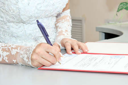 signature wedding document as background photo