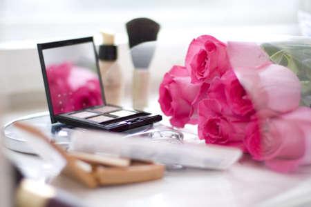 セット装飾的な化粧とシーン