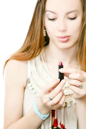 pretty girl and lipstick Stock Photo - 12998915