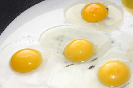 preparation fried eggs on pan for matutinal meal photo