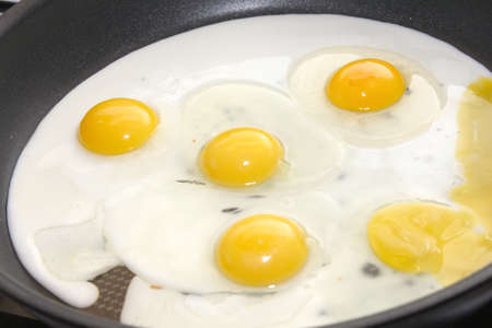 scene preparation fried eggs on pan for matutinal meal Stock Photo - 14812736