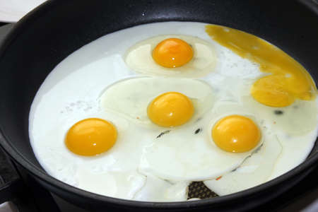 scene preparation fried eggs on pan for matutinal meal Stock Photo - 14812739