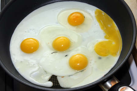 scene preparation fried eggs on pan for matutinal meal photo