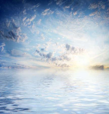 scene sea surface under solar dark sky  Фото со стока