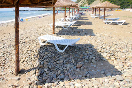 awnings: awnings on the beach Stock Photo