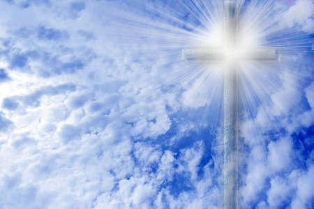 hope symbol of light: scene old cross and celestial landscape as religious background