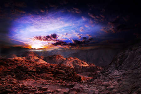 abstract scene mountain landscape and beautiful dark sky with clouds photo